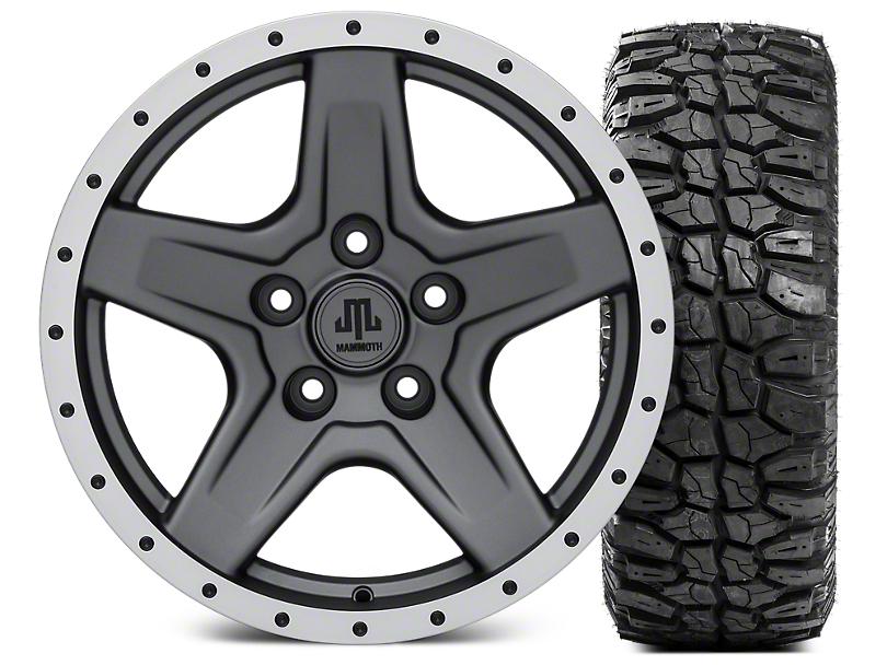 Mammoth Boulder Beadlock Style Charcoal Wheel - 17x9 and Mudclaw Radial 35x12.5- 17 (07-18 Jeep Wrangler JK; 2018 Jeep Wrangler JL)