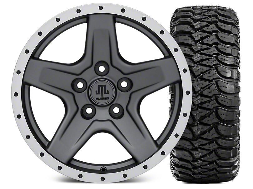 Mammoth Boulder Beadlock Style Charcoal 17x9 Wheel and Mickey Thompson Baja MTZ 305/65R17 Tire Kit (07-18 Jeep Wrangler JK)