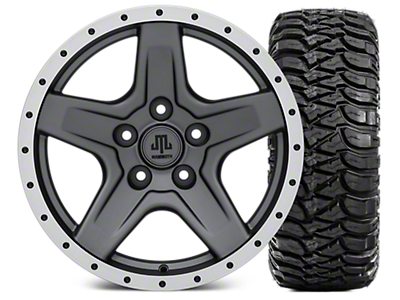 Mammoth Boulder Beadlock Style Charcoal Wheel - 17x9 and Mickey Thompson Baja MTZ 305/65-17 (07-18 Jeep Wrangler JK; 2018 Jeep Wrangler JL)