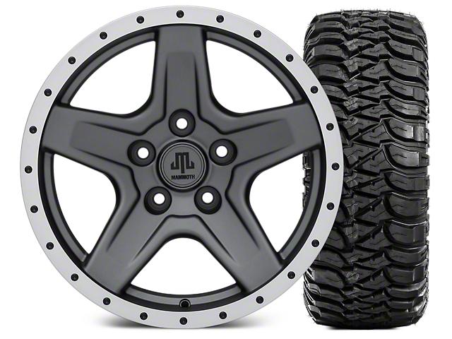 Mammoth Boulder Beadlock Style Charcoal Wheel; 17x9 and Mickey Thompson Baja MTZ 315/70- 17 (07-18 Jeep Wrangler JK)