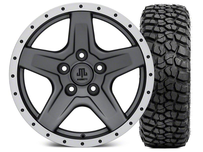 Mammoth Boulder Beadlock Style Charcoal 17x9 Wheel and BF Goodrich KM2 305/70R17 Tire Kit (07-18 Jeep Wrangler JK)