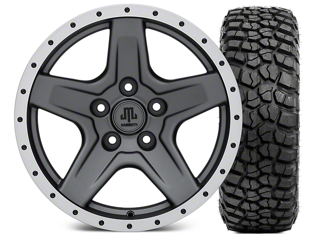 Mammoth Boulder Beadlock Style Charcoal 17x9 Wheel and BF Goodrich KM2 305/70R17 Tire Kit (07-18 Jeep Wrangler JK)