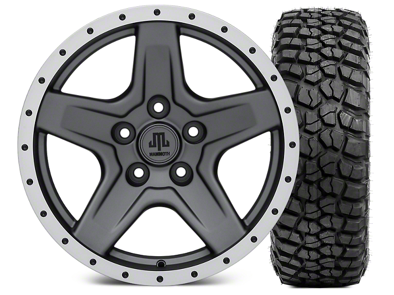 Mammoth Boulder Beadlock Style Charcoal 17x9 Wheel & BF Goodrich KM2 35x12.50R17 Tire Kit (07-18 Jeep Wrangler JK)