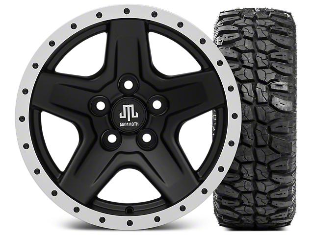Mammoth Boulder Beadlock Style Black Wheel; 15x8 Wheel; and Mudclaw Radial 33X12.50R15LT (87-06 Jeep Wrangler YJ & TJ)
