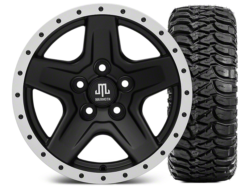 Mammoth Boulder Beadlock Style Black 15x8 Wheel and Mickey Thompson Baja MTZ 33X12.50R15 Tire Kit (87-06 Jeep Wrangler YJ & TJ)