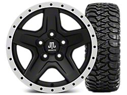 Mammoth Boulder Beadlock Style Black 15x8 Wheel and Mickey Thompson Baja MTZ 33X12.50R15; Set of Five (87-06 Jeep Wrangler YJ & TJ)