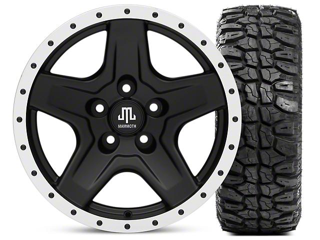 Mammoth Boulder Beadlock Style Black Wheel; 16x8 Wheel; and Mudclaw Radial 265/75/16 (87-06 Jeep Wrangler YJ & TJ)