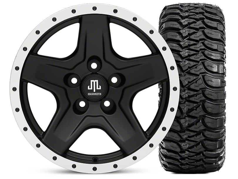 Mammoth Boulder Beadlock Style Black 16x8 Wheel & Mickey Thompson Baja MTZ 315/75-16 Tire Kit (87-06 Wrangler YJ & TJ)