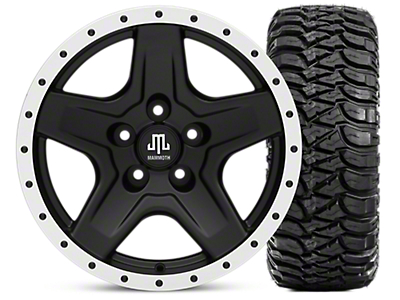 Mammoth Boulder Beadlock Style Black 16x8 Wheel & Mickey Thompson Baja MTZ 315/75-16 Tire Kit (87-06 Jeep Wrangler YJ & TJ)