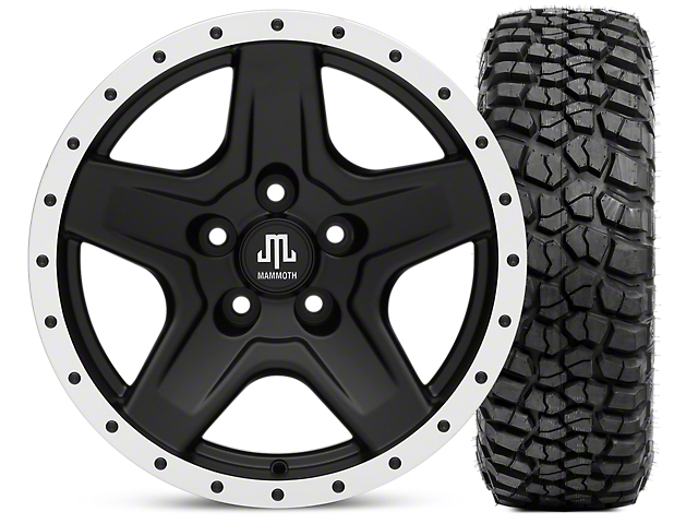 Mammoth Boulder Beadlock Style Black 16x8 Wheel & BF Goodrich KM2 315/75R16 Tire Kit (87-06 Jeep Wrangler YJ & TJ)