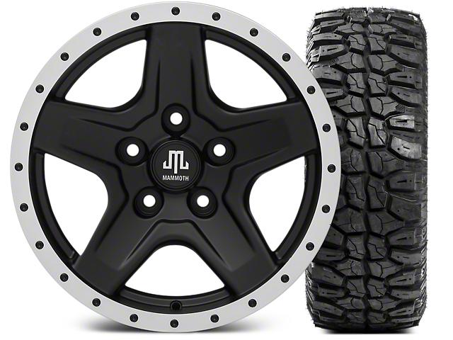 Mammoth Boulder Beadlock Style Black Wheel; 16x8 Wheel; and Mudclaw Radial 265/75/16 (07-18 Jeep Wrangler JK)