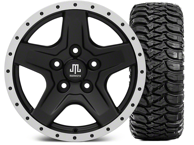 Mammoth Boulder Beadlock Style Black 16x8 Wheel & Mickey Thompson Baja MTZ 315/75R16 Tire Kit (07-18 Jeep Wrangler JK)