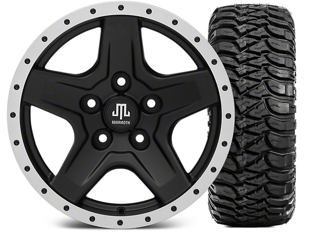Mammoth Boulder Beadlock Style Black 16x8 Wheel and Mickey Thompson Baja MTZ 315/75R16 Tire Kit (07-18 Jeep Wrangler JK)