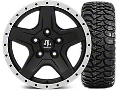 Mammoth Boulder Beadlock Style Black 16x8 Wheel & Mickey Thompson Baja MTZ 315/75R16 Tire Kit (5) (07-18 Jeep Wrangler JK)