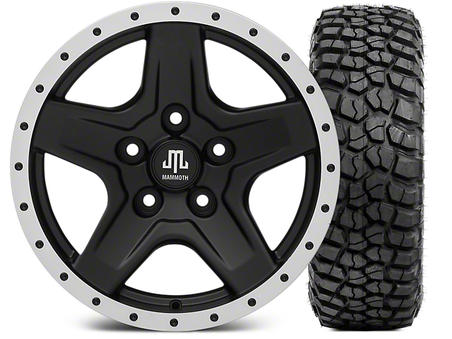 Mammoth Boulder Beadlock Style Black Wheel; 16x8 Wheel; and BFG KM2 Tire 305/70- 16 (07-18 Jeep Wrangler JK)