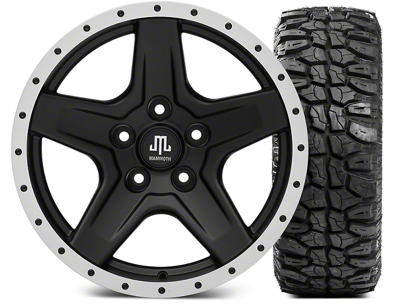 Mammoth Boulder Beadlock Style Black Wheel - 17x9 and Mudclaw Radial 265/70-17 (07-18 Jeep Wrangler JK; 2018 Jeep Wrangler JL)
