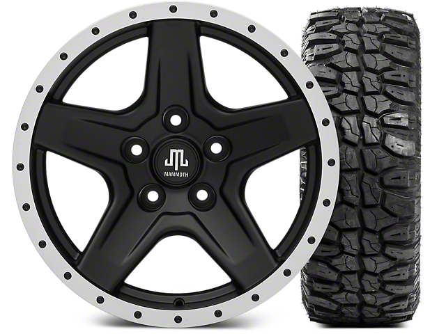 Mammoth Boulder Beadlock Style Black Wheel; 17x9 and Mudclaw Radial 265/70-17 (07-18 Jeep Wrangler JK; 2018 Jeep Wrangler JL)