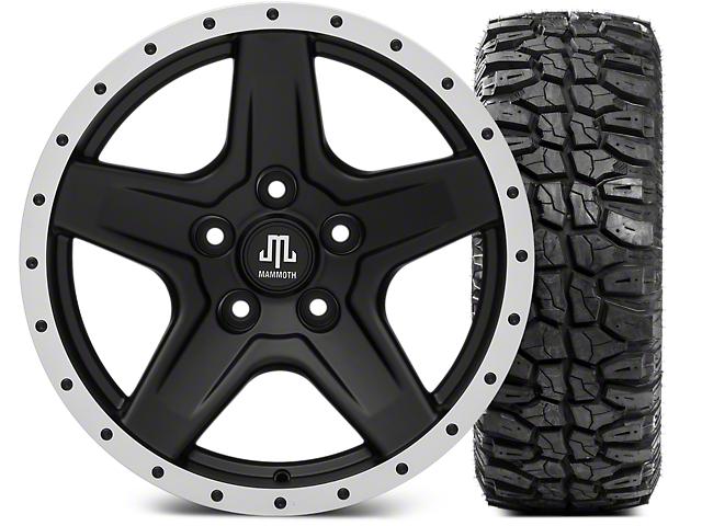 Mammoth Boulder Beadlock Style Black Wheel; 17x9 and Mudclaw Radial 265/70-17 (07-18 Jeep Wrangler JK; 2018 Jeep Wrangler JL)