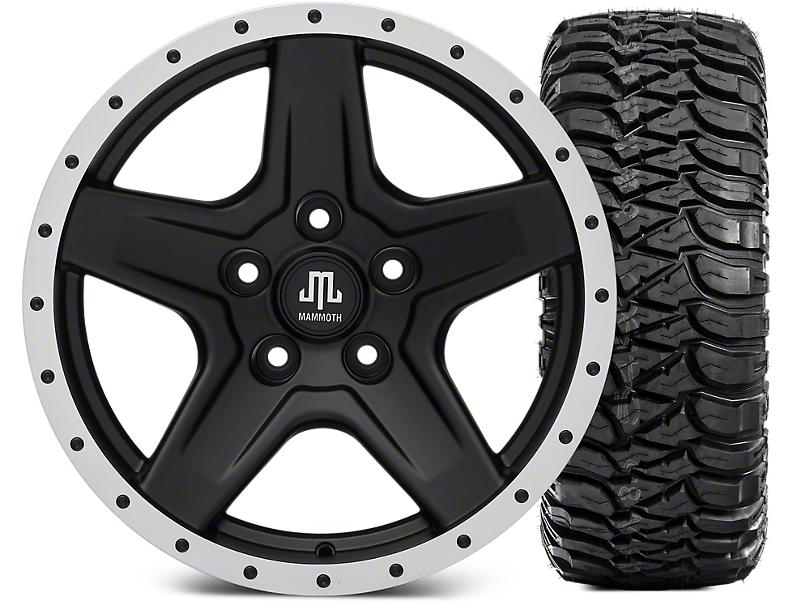 Mammoth Boulder Beadlock Style Black 17x9 Wheel & Mickey Thompson Baja MTZ 305/65R17 Tire Kit (07-18 Jeep Wrangler JK)