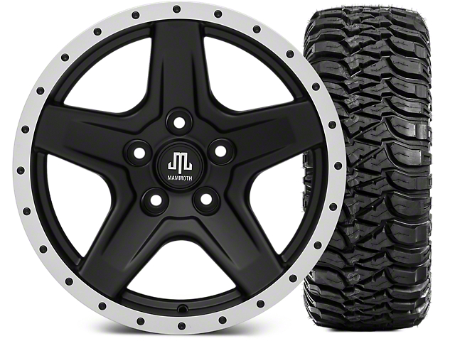 Mammoth Boulder Beadlock Style Black Wheel - 17x9 and Mickey Thompson Baja MTZ 305/65-17 (07-18 Jeep Wrangler JK; 2018 Jeep Wrangler JL)