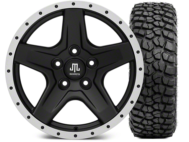 Mammoth Boulder Beadlock Style Black Wheel; 17x9 and BFG KM2 Tire 265/70-17 (07-18 Jeep Wrangler JK)