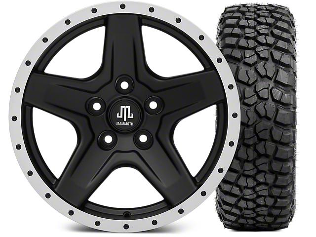 Mammoth Boulder Beadlock Style Black Wheel - 17x9 and BFG KM2 Tire 265/70-17 (07-18 Wrangler JK; 2018 Wrangler JL)