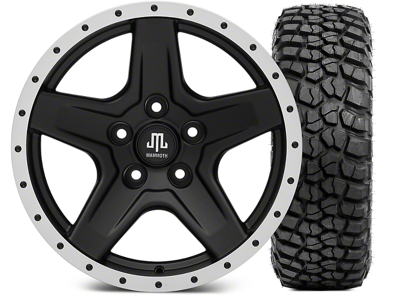 Mammoth Boulder Beadlock Style Black 17x9 Wheel & BF Goodrich KM2 305/70R17 Tire Kit (07-18 Jeep Wrangler JK)