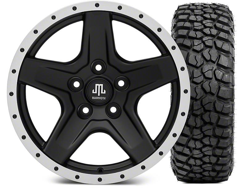 Mammoth Boulder Beadlock Style Black 17x9 Wheel and BF Goodrich KM2 35x12.50R17 Tire Kit (07-18 Jeep Wrangler JK)