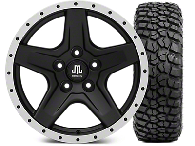 Mammoth Boulder Beadlock Style Black Wheel - 17x9 and BFG KM2 Tire 35x12.5x17 (07-18 Jeep Wrangler JK; 2018 Jeep Wrangler JL)