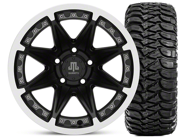 Mammoth Type 88 Wheel; Matte Black Wheel; 15x8 Wheel; & Mickey Thompson Baja MTZ 31X10.50R15 (87-06 Jeep Wrangler YJ & TJ)