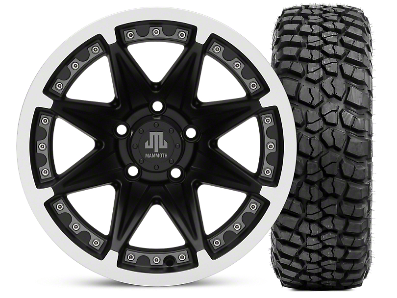 Mammoth Type 88 Matte Black 15x8 Wheel & BFG KM2 33x10.5- 15 Tire Kit (87-06 Wrangler YJ & TJ)