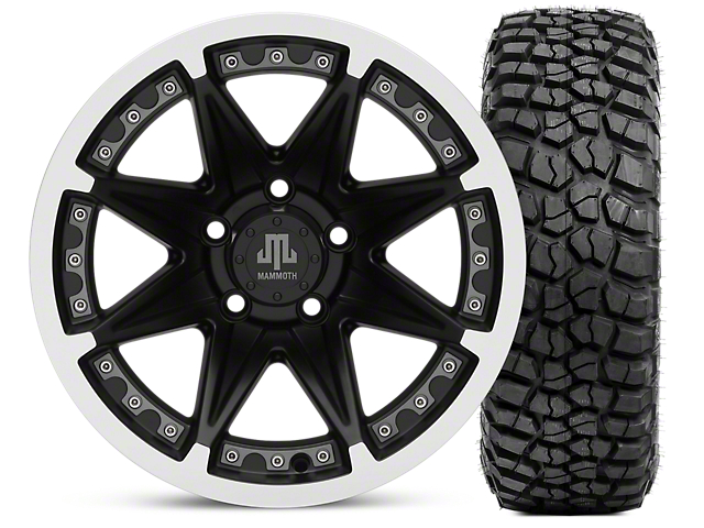 Mammoth Type 88 Matte Black 15x8 Wheel & BFG KM2 35x12.5- 15 Tire Kit (87-06 Jeep Wrangler YJ & TJ)