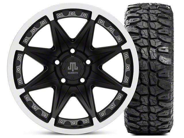 Mammoth Type 88 Wheel; Matte Black Wheel; 16x8 Wheel; & Mudclaw Radial 285/75- 16 (87-06 Jeep Wrangler YJ & TJ)