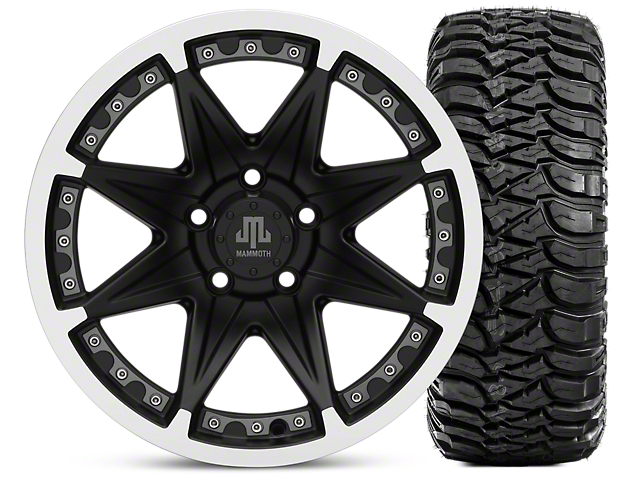 Mammoth Type 88 Matte Black 16x8 Wheel & Mickey Thompson Baja MTZ 315/75-16 Tire Kit (87-06 Jeep Wrangler YJ & TJ)