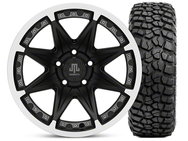 Mammoth Type 88 Matte Black 16x8 Wheel & BF Goodrich KM2 315/75R16 Tire Kit (87-06 Jeep Wrangler YJ & TJ)