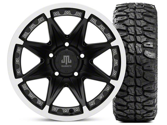 Mammoth Type 88 Wheel; Matte Black Wheel; 16x8 Wheel; & Mudclaw Radial 285/75- 16 (07-18 Jeep Wrangler JK)
