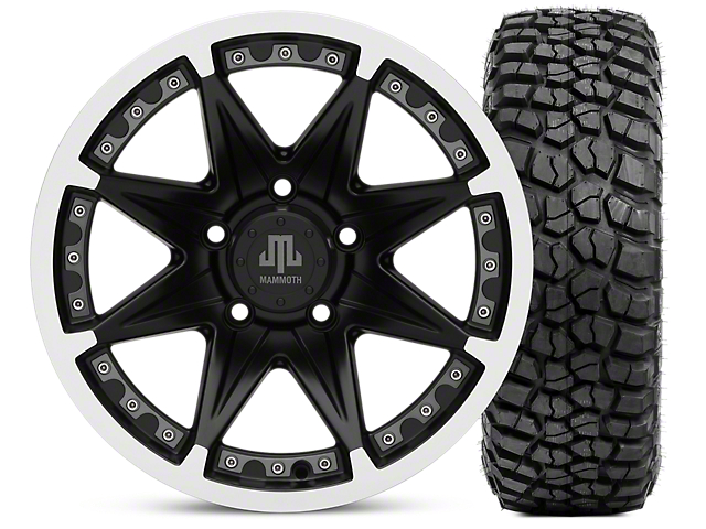 Mammoth Type 88 Wheel; Matte Black Wheel; 16x8 Wheel; & BFG KM2 Tire 305/70- 16 (07-18 Jeep Wrangler JK)