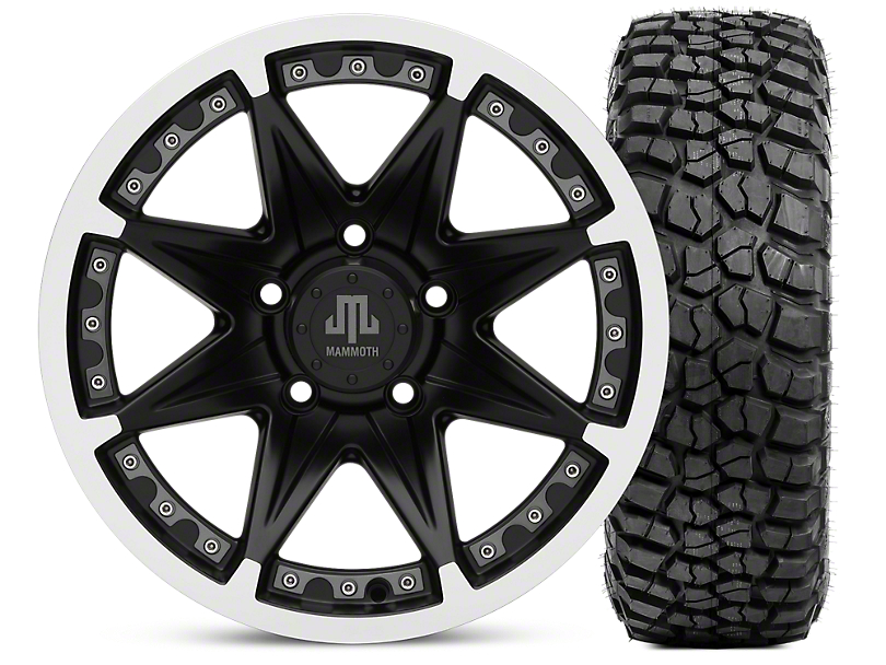 Mammoth Type 88 Matte Black 16x8 Wheel & BF Goodrich KM2 315/75R16 Tire Kit (07-18 Jeep Wrangler JK)