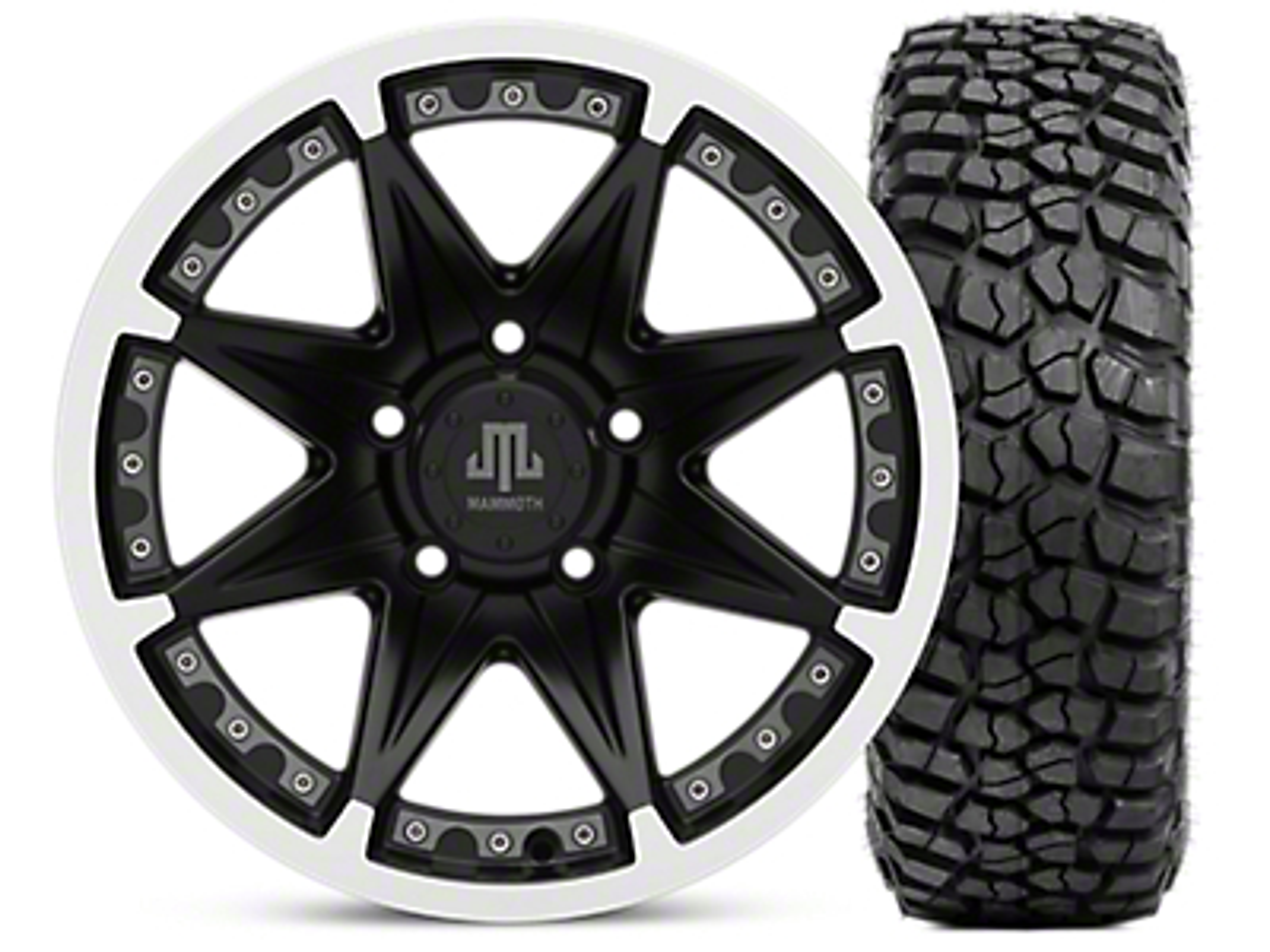 Mammoth Type 88 Wheel - Matte Black Wheel - 16x8 Wheel - & BFG KM2 Tire 315/75- 16 (07-18 Jeep Wrangler JK; 2018 Jeep Wrangler JL)