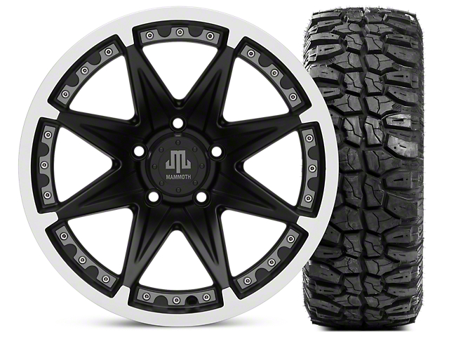 Mammoth Type 88 Wheel; Matte Black Wheel; 17x9 and Mudclaw Radial 265/70-17 (07-18 Jeep Wrangler JK; 2018 Jeep Wrangler JL)