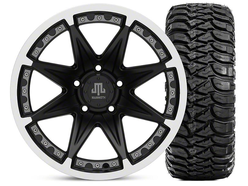 Mammoth Type 88 Matte Black 17x9 Wheel & Mickey Thompson Baja MTZ 265/70R17 Tire Kit (07-18 Jeep Wrangler JK)