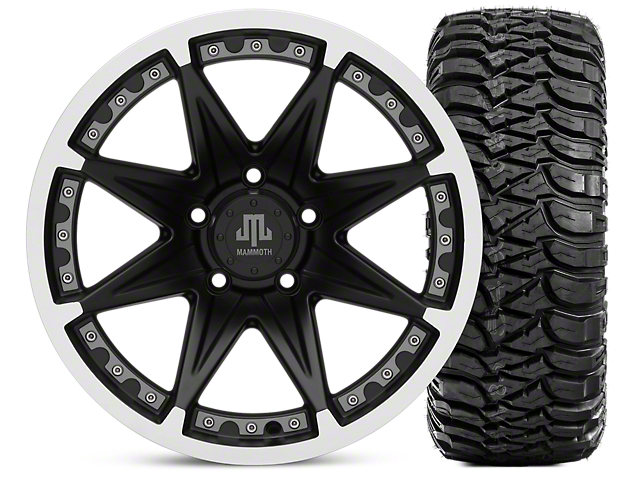 Mammoth Type 88 Matte Black 17x9 Wheel & Mickey Thompson Baja MTZ 305/65R17 Tire Kit (07-18 Jeep Wrangler JK)