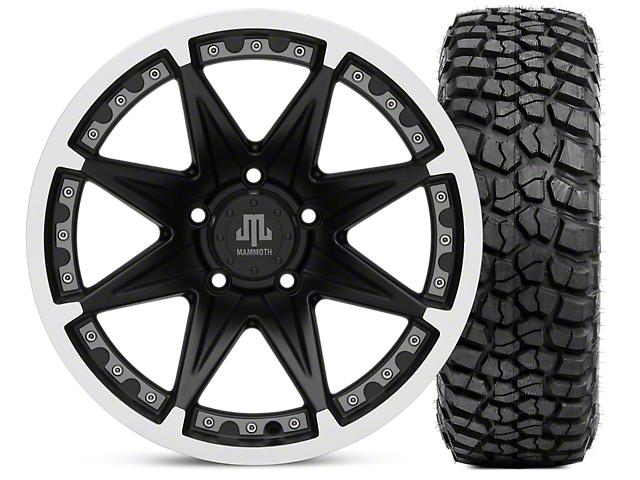 Mammoth Type 88 Wheel; Matte Black Wheel; 17x9 and BFG KM2 Tire 265/70-17 (07-18 Jeep Wrangler JK)
