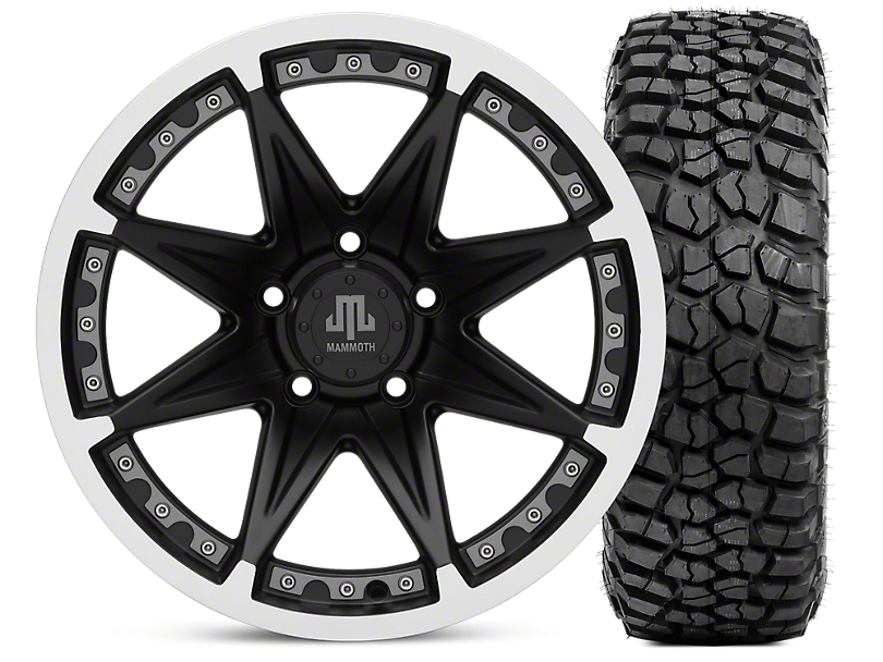 Mammoth Type 88 Matte Black 17x9 Wheel & BF Goodrich KM2 305/70R17 Tire Kit (07-18 Jeep Wrangler JK)
