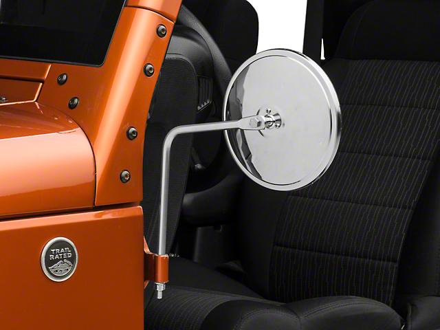 Barricade Round Adventure Mirrors - Stainless Steel (87-18 Jeep Wrangler YJ, TJ, JK & JL)