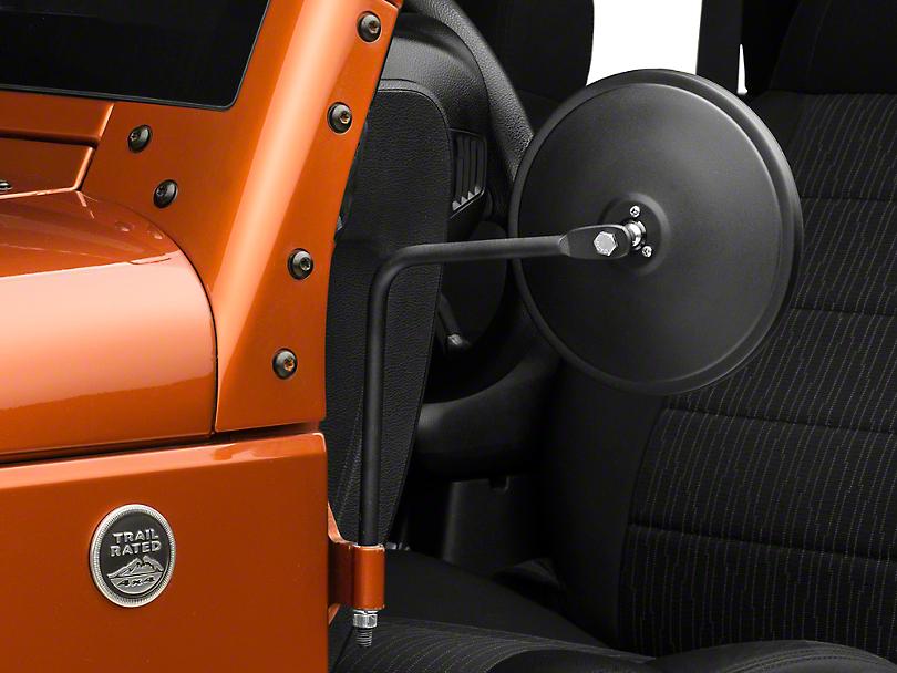 Barricade Round Adventure Mirrors - Textured Black (07-18 Jeep Wrangler JK; 2018 Jeep Wrangler JL)