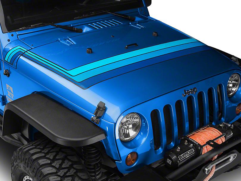 Retro Style Hood Stripes - Blue (07-18 Jeep Wrangler JK; 2018 Jeep Wrangler JL)