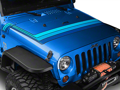 Retro Style Hood Stripes - Blue (07-18 Jeep Wrangler JK; 2018 Jeep Wrangler JL)