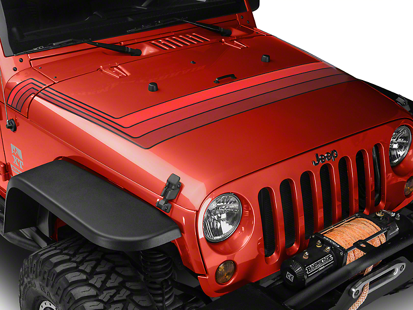 Retro Style Hood Stripes - Red (07-18 Jeep Wrangler JK; 2018 Jeep Wrangler JL)