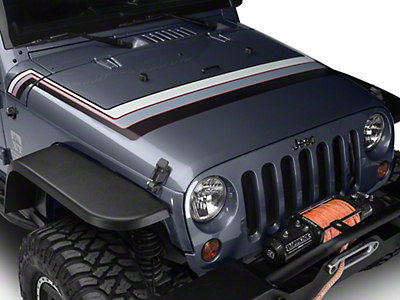Retro Style Hood Stripes - Gray & Red (07-18 Wrangler JK; 2018 Wrangler JL)